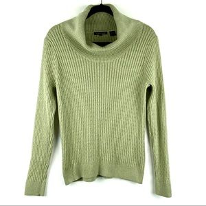 JEANNE PIERRE Green Cable Knit Cowl Neck Sweater